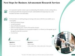 Next Steps For Business Advancement Research Services Ppt Infographics