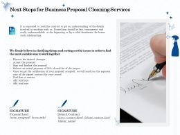 Next Steps For Business Proposal Cleaning Services Ppt Ideas