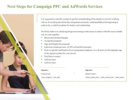 Next Steps For Campaign PPC And Adwords Services Work Relationship Ppt Styles Files