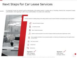 Next Steps For Car Lease Services Ppt Powerpoint Presentation Pictures
