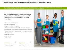 Next Steps For Cleaning And Sanitation Maintenance Ppt Powerpoint Presentation Summary