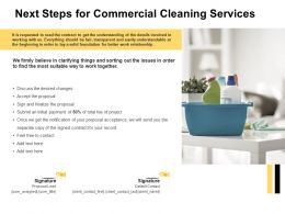 Next Steps For Commercial Cleaning Services Ppt Powerpoint Presentation File Gallery