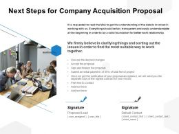 Next Steps For Company Acquisition Proposal Ppt Powerpoint Presentation File Slides