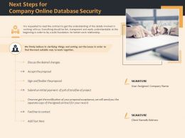 Next Steps For Company Online Database Security Ppt File Example Introduction