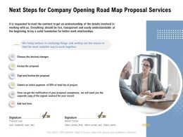 Next Steps For Company Opening Road Map Proposal Services Ppt Powerpoint Presentation Ideas