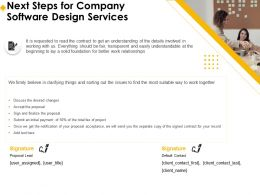 Next Steps For Company Software Design Services Ppt Model