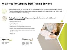Next Steps For Company Staff Training Services Ppt Powerpoint Smartart