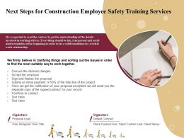 Next Steps For Construction Employee Safety Training Services Ppt File Design