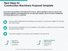 Next Steps For Construction Machinery Proposal Template Ppt Powerpoint Presentation Summary