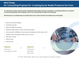 Next Steps For Consulting Proposal For Creating Social Media Presence Services Ppt File Slides
