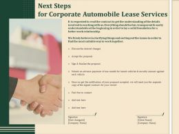 Next Steps For Corporate Automobile Lease Services Ppt Demonstration