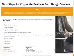 Next Steps For Corporate Business Card Design Services Ppt Powerpoint Presentation Gallery