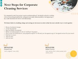 Next Steps For Corporate Cleaning Services Ppt Outline