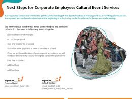 Next Steps For Corporate Employees Cultural Event Services Ppt Powerpoint Presentation Examples
