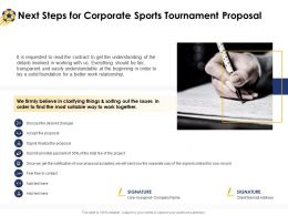 Next Steps For Corporate Sports Tournament Proposal Ppt Powerpoint Templates