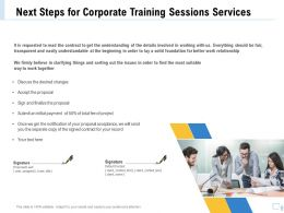 Next Steps For Corporate Training Sessions Services Ppt File Design
