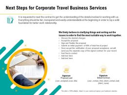 Next Steps For Corporate Travel Business Services Contact Ppt File Example Introduction