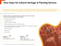 Next Steps For Cultural Heritage And Planning Services Ppt File Display