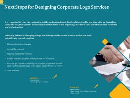 Next Steps For Designing Corporate Logo Services Ppt Powerpoint Presentation Structure
