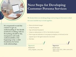 Next Steps For Developing Customer Persona Services Ppt Powerpoint Tips Background