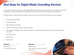 Next Steps For Digital Media Consulting Services Ppt Ideas