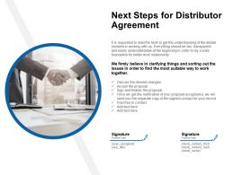 Next Steps For Distributor Agreement Ppt Powerpoint Presentation Styles Images
