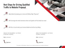 Next Steps For Driving Qualified Traffic To Website Proposal Ppt Clipart