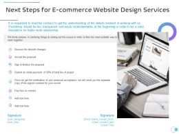 Next Steps For E Commerce Website Design Services Ppt Powerpoint Presentation Styles Graphics
