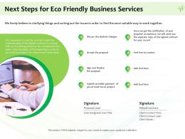Next Steps For Eco Friendly Business Services Ppt Powerpoint Presentation Icon Introduction