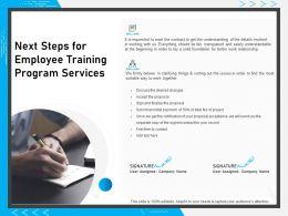 Next Steps For Employee Training Program Services Ppt Powerpoint Presentation Gallery Portfolio