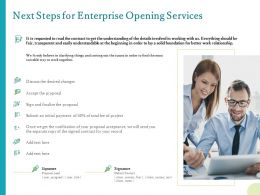 Next Steps For Enterprise Opening Services Ppt Powerpoint Presentation Templates