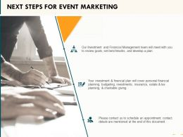 Next Steps For Event Marketing Ppt Powerpoint Presentation Summary Layouts