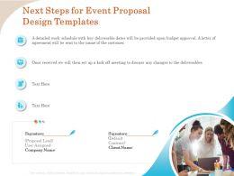 Next Steps For Event Proposal Design Templates Ppt Outline