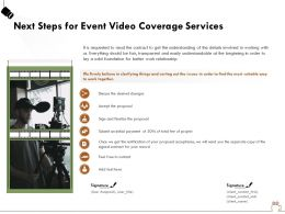 Next Steps For Event Video Coverage Services Ppt Powerpoint Presentation File Format