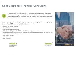 Next Steps For Financial Consulting Management Ppt Powerpoint Presentation Icon