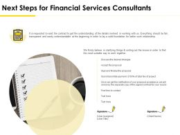 Next Steps For Financial Services Consultants Ppt Demonstration