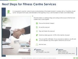 Next Steps For Fitness Centre Services Ppt Powerpoint Presentation Summary