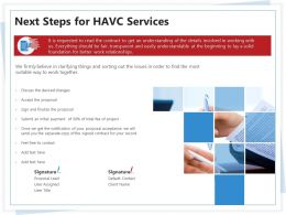 Next Steps For HAVC Services Ppt Powerpoint Presentation File Example File