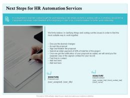 Next Steps For HR Automation Services Ppt Powerpoint Presentation Infographic Template Clipart Images