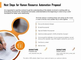 Next Steps For Human Resource Automation Proposal Ppt Icon