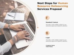 Next Steps For Human Resource Outsourcing Services Proposal Ppt Powerpoint Presentation Infographic