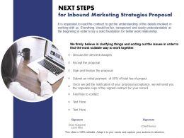 Next Steps For Inbound Marketing Strategies Proposal Ppt Powerpoint Styles