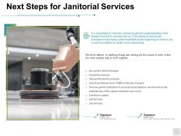 Next Steps For Janitorial Services Sale Ppt Powerpoint Presentation File Shapes