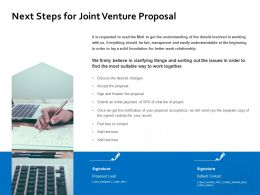 Next Steps For Joint Venture Proposal Ppt Powerpoint Presentation Example