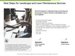 Next Steps For Landscape And Lawn Maintenance Services Ppt Slides