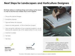 Next Steps For Landscapers And Horticulture Designers Powerpoint Presentation File