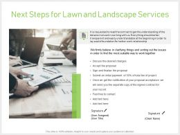 Next Steps For Lawn And Landscape Services Powerpoint Presentation Gallery Guide