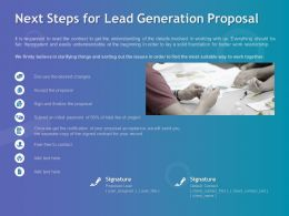 Next Steps For Lead Generation Proposal Ppt Powerpoint Presentation File