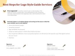 Next Steps For Logo Style Guide Services Ppt Powerpoint Presentation Gallery Visual