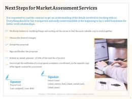 Next Steps For Market Assessment Services Ppt Powerpoint Presentation File Design